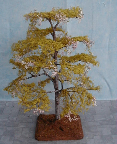 CDHM Gallery of Ceynix Miniature Trees 'n' Trains creating 1:12 trees, Pink Acacia Bush, landscaping, bushes including for the railroad collector in HO scale